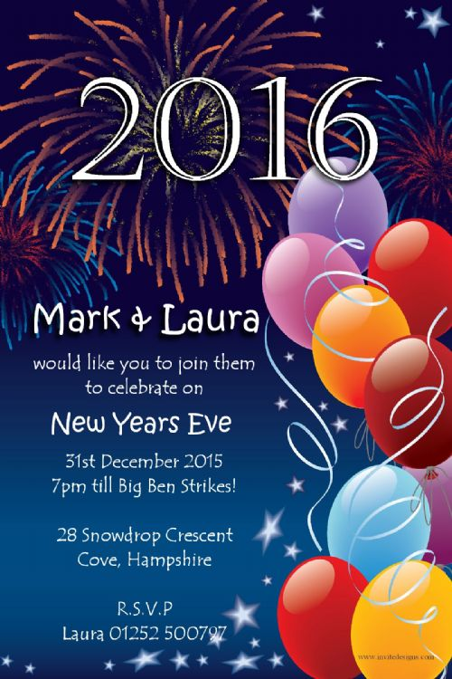 10 Personalised New Years Eve Party Invitations No1